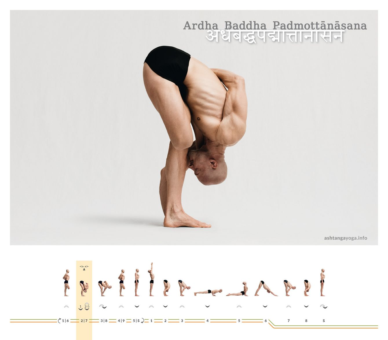 "The ""Intense half-bound lotus pose"" is a standing forward bend on one leg, with the other leg in lotus pose - Ardha Baddha Padmotanasana."